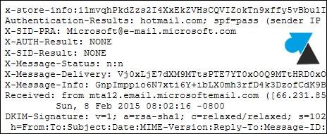 Outlook Hotmail afficher en tete header