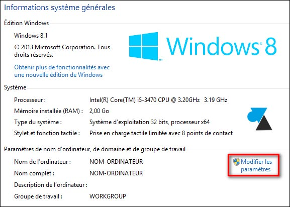 Windows proprietes systeme