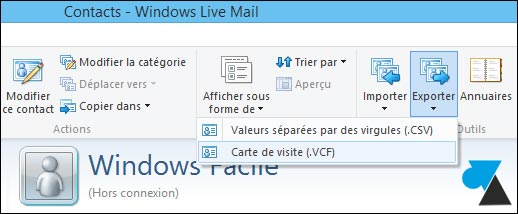 tutoriel sauvegarder contacts Windows Live Mail