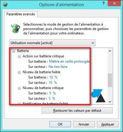 tutoriel configurer mise en veille batterie faible ordinateur