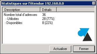 serveur DHCP adresse IP disponible