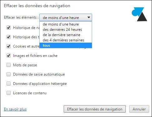 tutoriel vider supprimer historique navigation internet Google Chrome