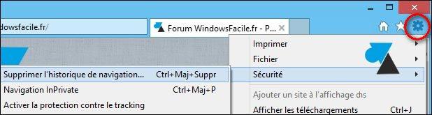 tutoriel vider supprimer historique navigation internet IE Internet Explorer
