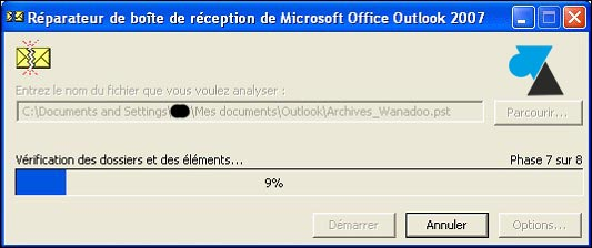 tutoriel Outlook reparer fichier PST scanpst