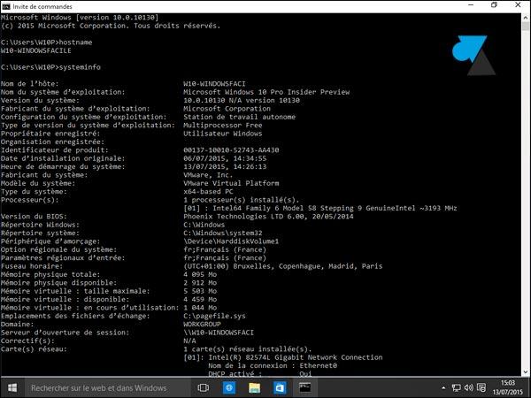 invite de commandes cmd plein ecran Windows 10