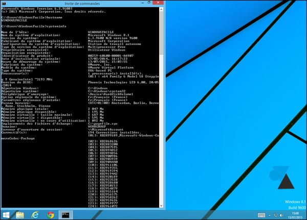 invite de commandes cmd plein ecran Windows 7 8 8.1