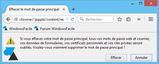 tutoriel Mozilla Firefox effacer mot de passe principal