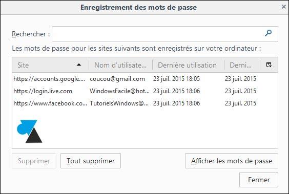 tutoriel securiser Mozilla Firefox afficher mot de passe