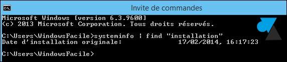 date installation systeme Windows