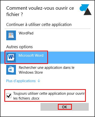 tutoriel fichier ouvrir avec programme Word
