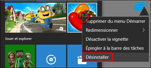 tutoriel désinstaller programme jeu Windows Store 10