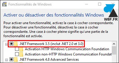 tutoriel Windows 10 installer net framework 3.5 2.0 3.0