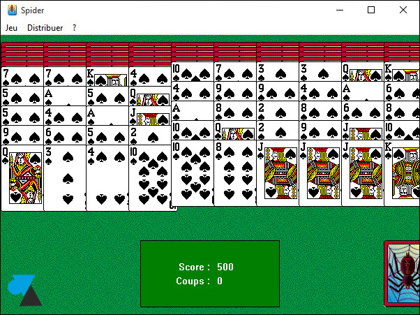 Spider Solitaire jeu Windows