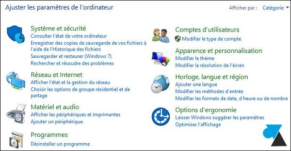 tutoriel Windows 10 Panneau de configuration