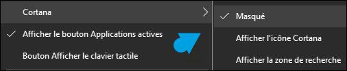 tutoriel Windows 10 supprimer masquer barre recherche Cortana