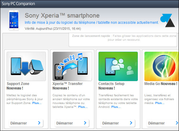tutoriel telephone smartphone tablette Sony Xperia PC Companion Windows