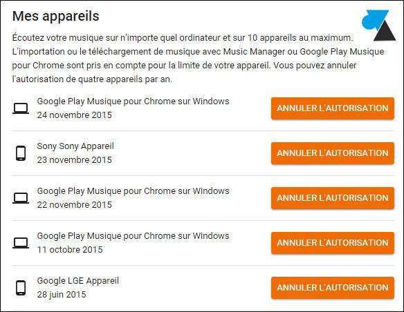 tutoriel Google Play Music appareils autorisés