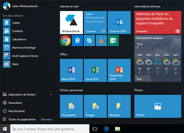 tutoriel menu demarrer Windows 10