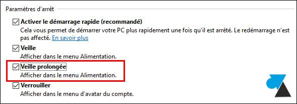 tutoriel Windows 10 acceder options veille prolongee