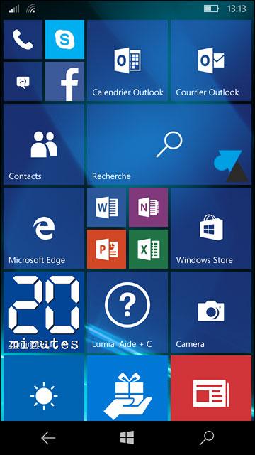 page accueil demarrage Windows 10 Mobile smartphone