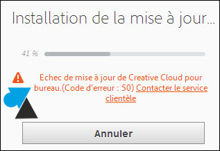 tutoriel Adobe Creative Cloud erreur 2 50