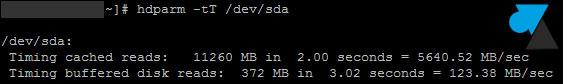 tutoriel Linux performance disque dur hdparm