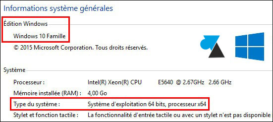 tutoriel Windows 10 Famille informations syteme CPU RAM