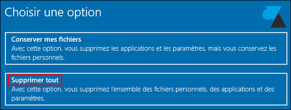 tutoriel réinitialiser Windows 10 reset réinstaller