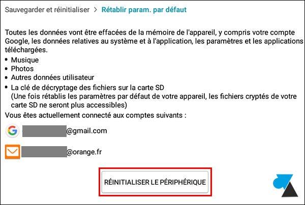 tutoriel reset reinstaller tablette Android Samsung Galaxy Tab
