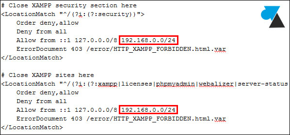 XAMPP Apache securite allow from