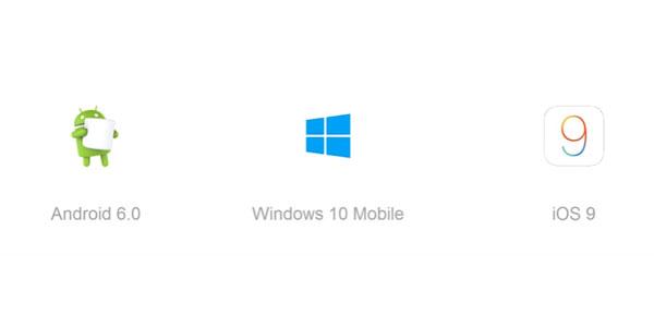 logo Android 6.0 Marshmallow Windows 10 Mobile iOS 9