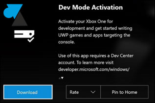 tutoriel activer Dev Mode Xbox One mode developpeur