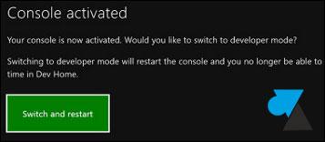 tutoriel activer Dev Mode Xbox One mode developpeur