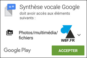 Google Android PlayStore synthese vocale installer