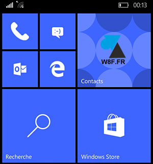 smartphone Lumia Windows 10 Mobile ecran accueil home