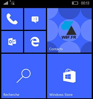 smartphone Lumia Windows 10 Mobile ecran accueil home
