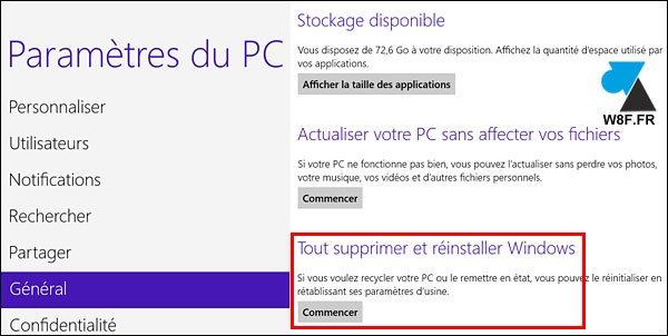tutoriel formater remettre à zéro réinstaller Windows 8.1