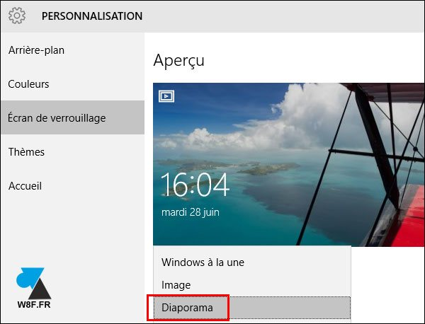 tutoriel Windows 10 changer photo écran verrouillage diaporama