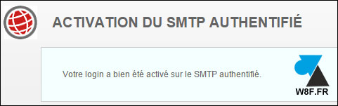 activer authentification SMTP Free mail