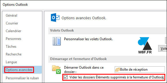 tutoriel Outlook supprimer mails en quittant