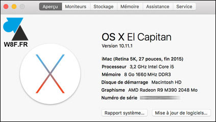 A propos de ce Mac iMac Macbook Pro Air