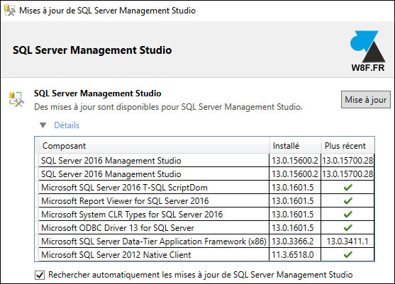 tutoriel SQL Server Management Studio 2016 update