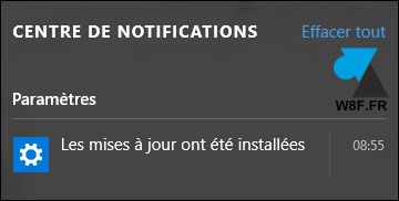 notification redemarrage automatique Windows Update 10