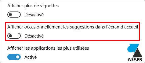 tutoriel Windows 10 desactiver pub publicité suggestion menu demarrer ecran accueil