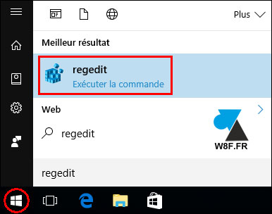 tutoriel Windows 10 ouvrir regedit editeur base de registre