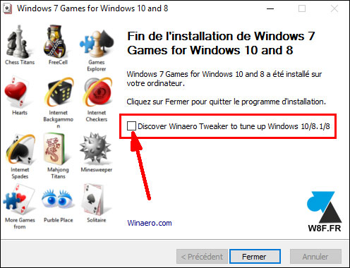 télécharger installer jeux Windows 7 sur Windows 10 Spider Solitaire Demineur Freecell Mahjong
