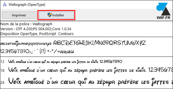 tutoriel Windows 10 installer police caractere OTF TTF