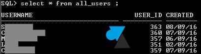 oracle sqlplus cmd liste utilisateurs select user list