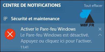 tutoriel Windows 10 configurer pare feu firewall parefeu notification