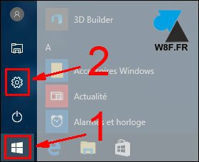 WF tutoriel Windows 10 menu demarrer Parametres Panneau de configuration